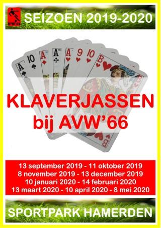 Gerrie Hubers winnaar eerste ronde klaverjassen AVW'66